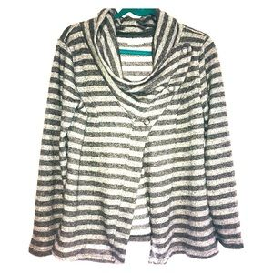 Maurices XL grey striped cardigan asymmetrical